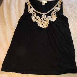 Black dressy tank with crochet neck